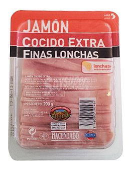 Hacendado Jamon cocido extra lonchas finas Paquete 200 g