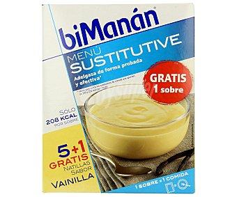 Bimanan Natillas sabor vainilla Menú Sustitutive 6 sobres de 50 Gramos