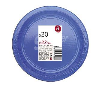 ACTUEL Platos llanos desechables color azul, 22 centímetros de diámetro 20 unidades