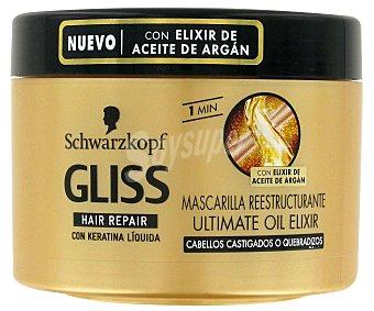 Gliss Mascarilla ultimate oil con keratina líquida y elixir de aceite de argán para cabello castigado o quebradizo Hair Repair tarro 200 ml