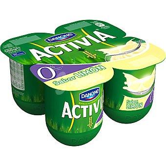Activia Danone yogur desnatado 0% materia grasa sabor a limón  pack 4 unidades 125 g