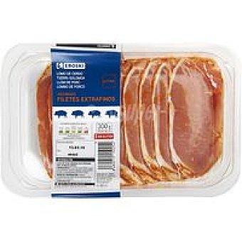 Eroski Filetes de lomo cerdo adobado corte extrafino 300g