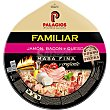 Pizza familiar de jamón, bacon y queso Ud 580 g Palacios