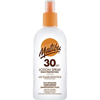 MALIBU Spray loción solar FP-30 resistente al agua spray de 200 ml