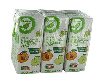 Productos Económicos Alcampo Zumo de melocotón, uva y manzana Brick 6 uds