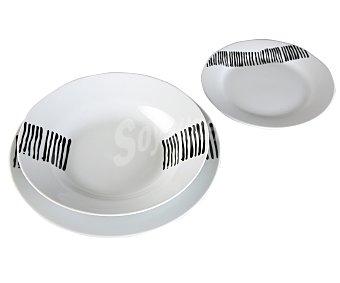 VERSA Vajilla de 18 piezas modelo Lisbon Black, fabricada en porcelana 1 Unidad