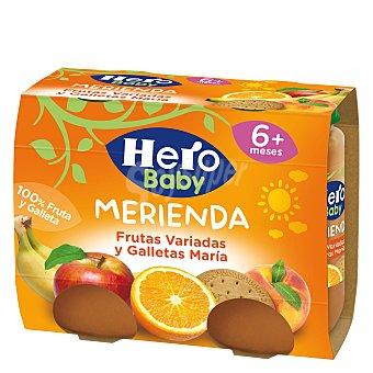 Hero Baby Tarrito frutas variadas y galletas Maria desde 6 meses Pack 2 tarros x 190 g