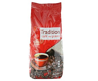 Auchan Café natural grano tradition 1 kilogramo