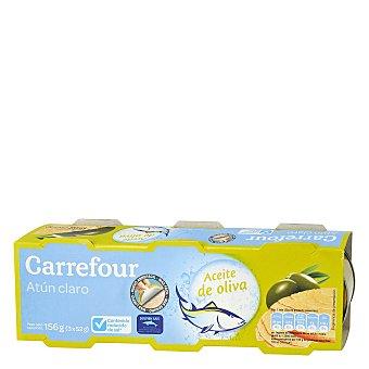 Carrefour Atun claro en aceite de oliva bajo en sal Pack 3x52 g