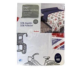 AUCHAN Funda para edredón nórdico para cama de 90 centímetros, modelo juvenil London 1 Unidad