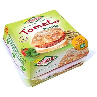 Sojasun Hamburguesa vegetal de soja con tomate y albahaca para microondas Envase 155 g