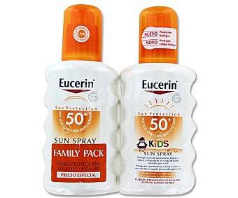 Eucerin Spray protección solar Familiar FP50 Adultos y Niños 200+200 Mililitros