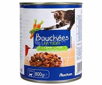 Auchan Comida Húmeda para Gato de Bocaditos Salsa Condy Conejo Lata 800 Gramos