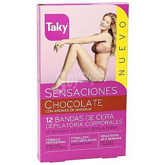 Taky Bandas de cera fría depilatorias corporales aroma chocolate Caja 12 u