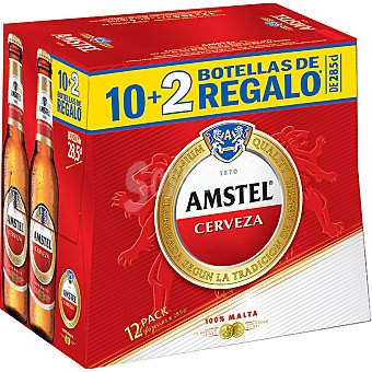 AMSTEL cerveza rubia nacional + 2 botellas gratis pack 10 botellas 28,5 cl