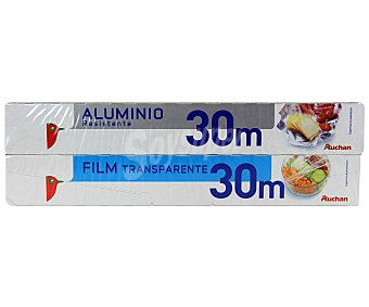 Auchan Papel Aluminio 30 Metros + Film Transparente 30 Metros 1 Unidad