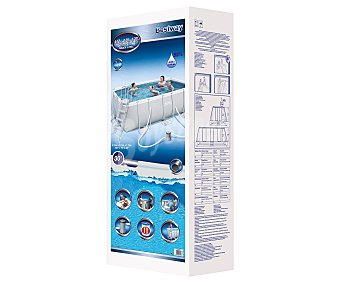 BESTWAY Piscina tubular rectangular Steel Pro con estructura metálica, depuradora y escalera de 1,22m , 412x201x122 centímetros, 10103.1 litros 1 unidad