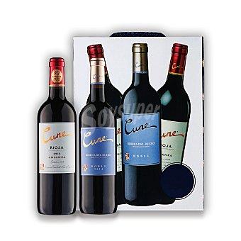 """Cune Lote 84: Estuche de 2 vinos D.O. Ca. """"rioja"""" tinto crianza + 1 vino D.O. """"ribera del Duero"""" tinto roble Pack 3x75 cl"""