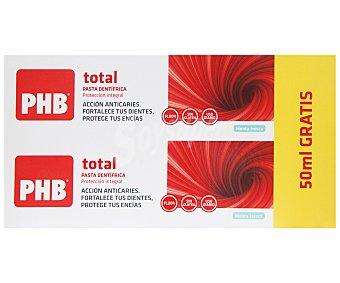 PHB Total Pasta de dientes de uso diario, con flúor, sin gluten y con sabor a menta fresca 2 x 125 ml