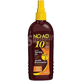 NO-AD Aceite bronceador con aceite de coco crema de cacao y vitamina E FP-10 estilo Hawaiano Bote 250 ml