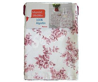 AUCHAN Mantel algodón, estampado floral color rosa, 150x200 centímetros 1 Unidad