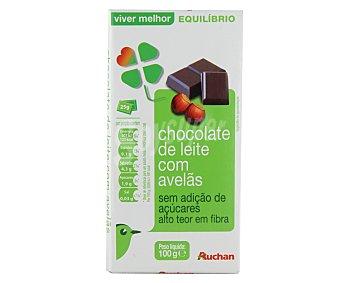 Auchan Chocolate con leche y con avellanas, sin azucares añadidos 100 gramos