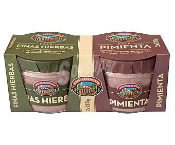 Casa Tarradellas Paté de finas hierbas y paté a la pimienta Pack 2 u x 125 g