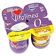 Yogur desnatado 0% materia grasa, natural edulcorado Pack 4 envases x 125 g Vitalínea Danone