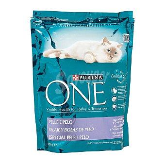 PURINA ONE pelaje y bolas de pelo rico en pollo para gatos  envase 800 g