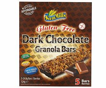 Sam Mills Barritas de cereales chocolate negro Sin Gluten Caja de 5 unidades (124 gramos)