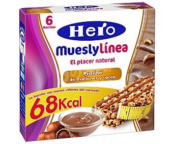 Hero Barrita Praliné de avellanas y cacao muesly línea de 6 unidades de 20 gramos