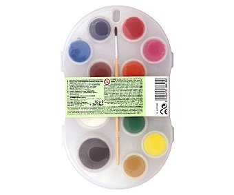 Auchan Cja con 12 acuarelas de diferentes colores auchan 12u
