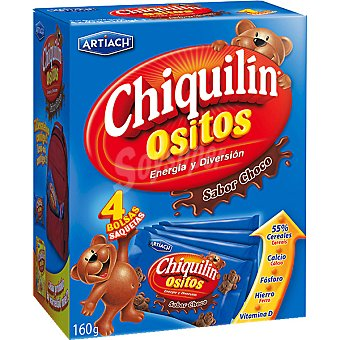 CHIQUILIN ositos de galleta de chocolate paquete 160 g pack 4 bolsas