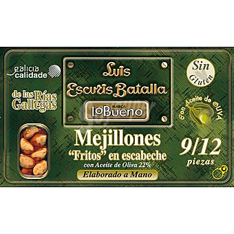 Lobueno Mejillones fritos en escabeche de las rías gallegas con aceite de oliva 9-12 piezas Lata 72 g neto escurrido