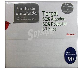 Auchan Funda de almohada color blanco, 90/105 centímetros 1 Unidad