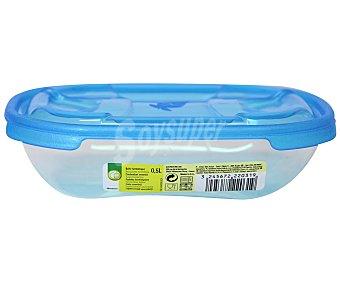 Productos Económicos Alcampo Recipiente hermético rectangular de plástico con tapa, 0,5 litros 1 Unidad