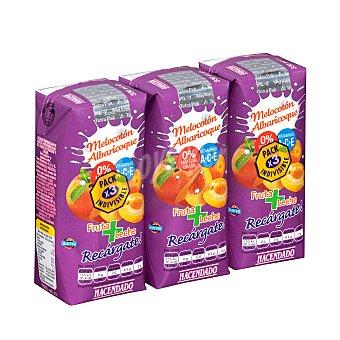 Hacendado Frutas+leche melocoton albaricoque (brick morado) 3 x 330 ml