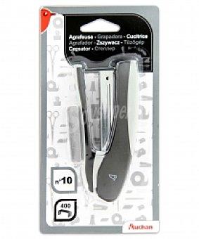 Auchan Grapadora de color gris + caja de 400 grapas rectangulares del Nº10 1 unidad