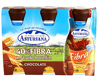 Central Lechera Asturiana Preparado lácteo naturfibra de chocoloate Pack de 3 uds x 200 ml