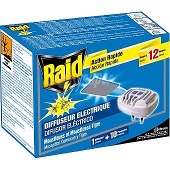 Raid insecticida volador eléctrico antimosquitos comunes y tigre aparato +  10 pastillas