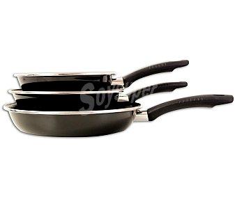 Magefesa Lote de 3 sartenes modelo Kenia de 18, 22 y 26 centímetros, con cuerpo de de acero vitrificado, mangos anitérmicos y recubrimiento Interior antiadherente bicapa 1 Unidad