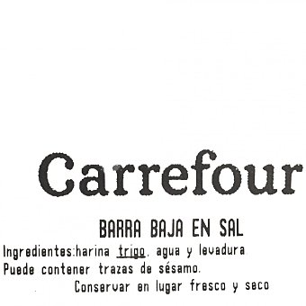 Carrefour Barra de pan baja en sal 250 G 250 g