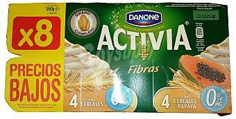Activia Danone Yogur bifidus activia desnatado fibra 4 cereales - 4 cereales/papaya 8 unidades de 125 g
