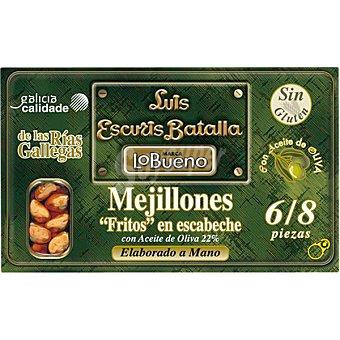 Lobueno Mejillones en escabeche fritos de las rías gallegas 6-8 piezas lata 72 g neto escurrido Lata 72 g neto escurrido