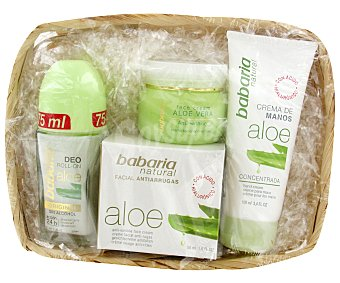 Babaria Cesta Aloe Vera: Desodorante Roll-on 75ml + Crema Facial Antiarrugas 50ml + Crema de Manos 100ml 1u