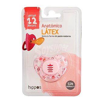 Hippos Chupete látex anatómico más de 12 meses rosa 1 unidad