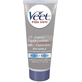Veet For Men crema depilatoria piel sensible para pecho espalda y axilas tubo 200 ml