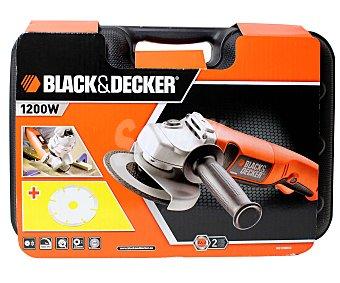 Black&Decker Amoladora de Angulo de 1200 Watios, 1 Velocidad, 10000 revoluciones/minuto, Diámetro de Disco de 125 Milímetros 1 Unidad