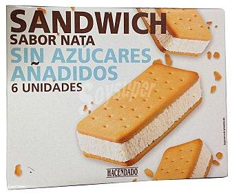 Hacendado Helado sin azúcar añadido sandwich sabor nata Caja 6 u