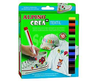 Alpino Rotuladores con punta y cuerpo más gruesos, de diferentes colores y tinta permanente, ideales para decorar tejidos 10 unidades